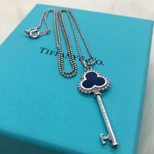 Tiffany & Co. Blue Enamel Trefoil Key RARE